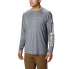 Columbia Men's Terminal Tackle Heather LS Shirt - Medium - Charcoal Heather / Cool Grey