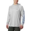 Columbia Men's Terminal Tackle Hoodie - LT - Cool Grey / Vivid Blue Logo