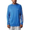 Columbia Men's Terminal Tackle LS Shirt - Medium - Vivid Blue / Bright Nectar Logo
