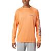 Columbia Men's Terminal Tackle LS Shirt - Medium - Bright Nectar / Vivid Blue Logo