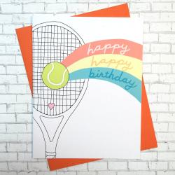 Racquet Smash Birthday Card Tennis Gifts & Novelties Racquet Rainbow