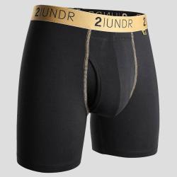 """2UNDR Swing Shift 6"""" Boxer Briefs Running Apparel Black/Gold"""