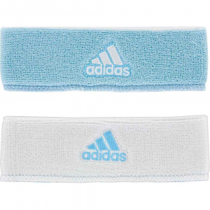 adidas Interval Reversible Wristband Sweat Bands Light Blue/White and White/Light Blue