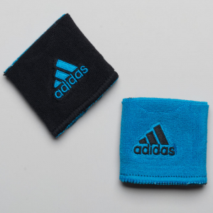 adidas Interval Reversible Wristband Sweat Bands Solar Blue/Black and Black/Solar Blue