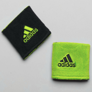 adidas Interval Reversible Wristband Sweat Bands Slime/Black and Black/Slime
