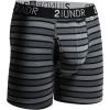 "2UNDR Swing Shift 6"" Boxer Briefs Stripes Running Apparel Black Stripes"