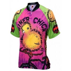 World Jerseys Women's Biker Chick on a Bike Cycling Jersey