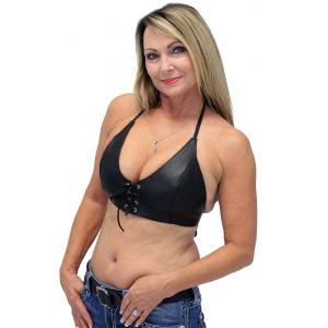 Black Lamb Leather Bikini Halter Top #LH3030L