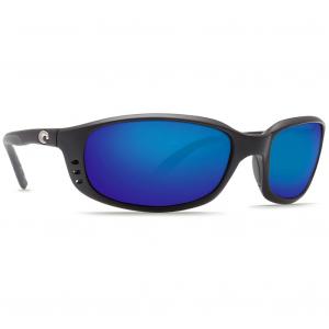 Costa Brine Matte Black Frame Sunglasses w/Blue Mirror 580P C-Mate 2.00 Lenses 06S7001-00030459