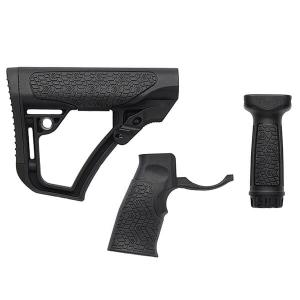 Daniel Defense Blk Collapsible Buttstock, Pistol Grip & Vertical Foregrip Combo 28-102-06145-006