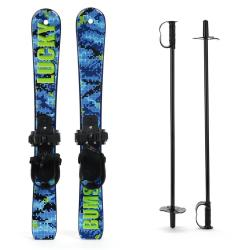 Lucky Bums Snow Kids Skis with Bindings and Poles - Youth
