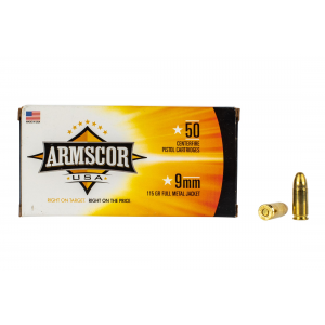 9mm 115gr FMJ Ammo - Box of 50