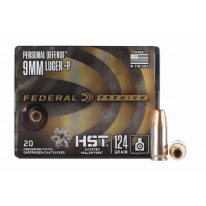 9mm +P Jacketed Hollow Point Ammo - Box of 20