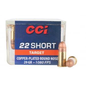 22 Short 29gr Plated Round Nose Rimfire Ammo - Box of 100