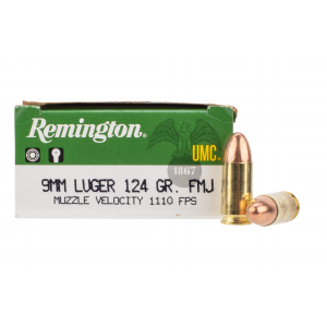 9mm 124gr FMJ Ammo - Box of 50