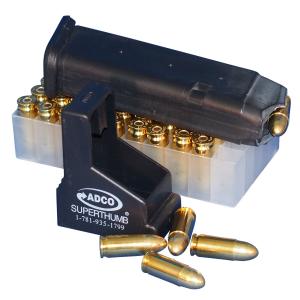 ADCO Super Thumb Stack 9mm/.40 S&W/.45 ACP Polymer Magazine Loader, Black -