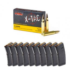 200 Rounds PMC X-TAC 5.56 NATO 55 gr FMJBT Ammunition & 10 Magpul PMAG 30 Round Magazines