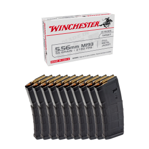 200rds of Winchester FMJ Ammo & 10 Magpul 30rd PMAG Gen2 MOE Magazines