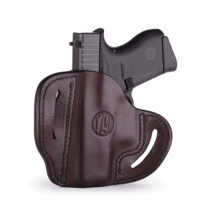 1791 Gunleather BHC Right Hand Glock 43 OWB Open-Top Compact Holster, Brown -