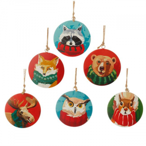 Animal with Scarf Disk Ornament