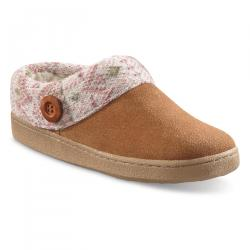 Guide Gear Women's Suede Clog Slippers with Sweater Button Collar