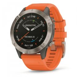 Garmin fenix 6 Multisport GPS Watch Sapphire Edition Orange Silicone Strap