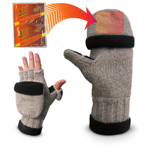 Fleece-Lined Thinsulate Insulation Ragg Wool Gloves with Hand Warmer Pockets