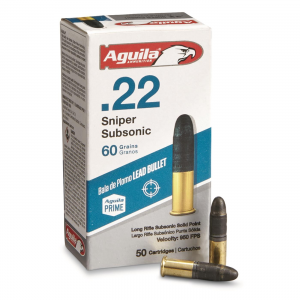 Aguila Sniper SubSonic .22LR LRN 60 Grain 50 Rounds