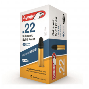 Aguila Subsonic Solid Point .22LR LRN 40 Grain 50 Rounds