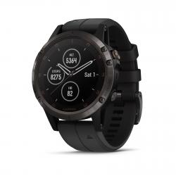 Garmin Fenix 5 Plus Sapphire, Carbon Gray DLC Titanium with Black Silicone Band