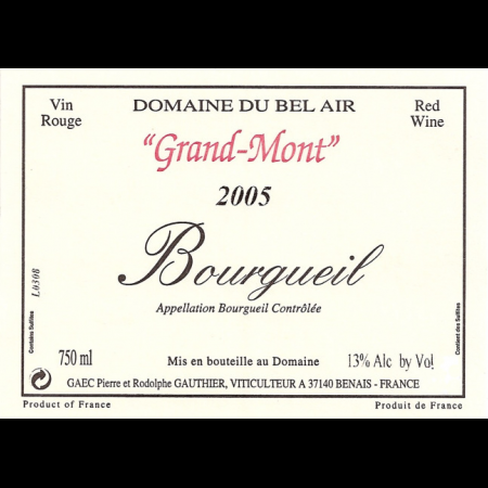 Bel Air [Gauthier] Bourgueil Grand Mont  2010 750ml