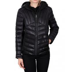 Women's Hooded Scuba-Stretch Hybrid Jacket  - Black