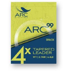 ARC Fishing 99 Knotless Tapered Leaders - 3 Pack - One Color - 9ft 2X