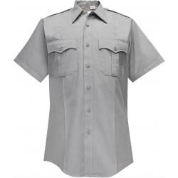 Flying Cross 65% Polyester/35% Cotton Duro Poplin Men's Short Sleeve Shirt | Silver | 18.5 | LAPoliceGear.com