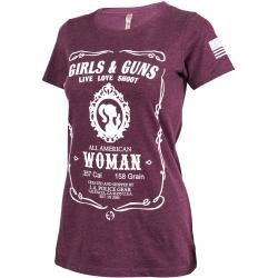 LA Police Gear Women's Girls & Guns T-Shirt | Plum | Medium | Cotton/Polyester