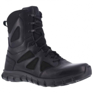 Reebok Women's Sublite Cushion 8in Waterproof Tactical Boot | Black | 12-Wide | Nylon/Rubber | LAPoliceGear.com