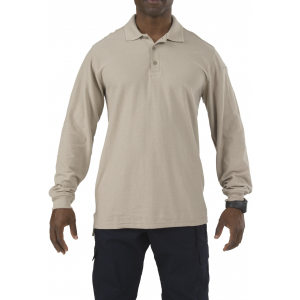 5.11 Tactical Men's Utility Long Sleeve Polo Shirt 72057 | Silver Tan | 3X-Large | Cotton/Polyester | LAPoliceGear.com
