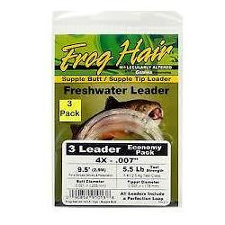 """Frog Hair Supple Butt Supple Tip Leader 9'.5"""" 3-pack 6X - Fly Fishing"""