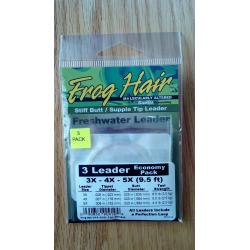 Frog Hair Tapered Leader Economy Pack 9.5' Stiff/Supple Tip 3x-4x-5x