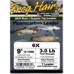Frog Hair 3x 9' Fluorocarbon Tapered Leader - Fly Fishing