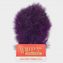 Whiting Farms Chickabou Patch Feathers   White dyed Red