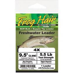 Frog Hair 1x 9.5' Stiff Butt / Supple Tip Tapered Leader