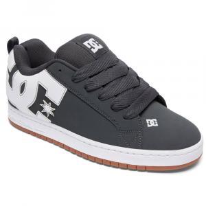 DC Guys' Court Graffik Skate Shoes, Grey/Gum - Size 10
