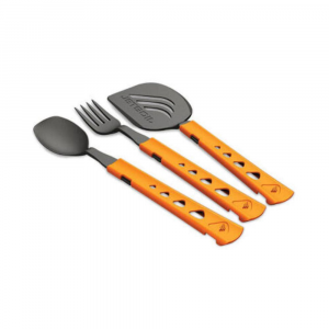 jetset utensil set- Save 25% Off - Ideal length Utensil Kit for the Jetboil cooking systems or meals-in-a-bag. . Includes spoon, fork, and spatula. Long enough to comfortably reach the bottom of Jetboil Personal Cooking System (PCS) and Group Cooking System (GCS) or meals-in-a-bag. Handles telescope to store compactly in or on Jetboil cooking vessels. Specially shaped to scour each edge and corner. Spatula shape matches Jetboil FluxRing fry pan. Lightweight and durable high-temperature nylon. Weight for all  3 utensils: 1.3 oz. (36 g). Dimensions: 5.2 - 8.5 in. (130 mm - 215 mm).