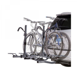 sportrack sr2902lr 4 bike locking platform hitch rack- Save 25% Off - SportRack's 4 bike platform hitch rack is lockable and folds down for rear access.This product will be shipped directly from SportRack and will leave their warehouse in 2-3 business days. Eligible for UPS ground shipping only. . Moveable rubberized hooks secure the bike to the rack while protecting the finish. Center folds down for rear vehicle access and folds up when not in use. Hooks and wheel trays adjust to fit almost all bike frames and sizes. Includes locks to secure the bike to the rack and rack to the vehicle. Fits 2 in. receivers only. Holds up to 4 bikes. Max weight of 180 lb. / 90 kg.