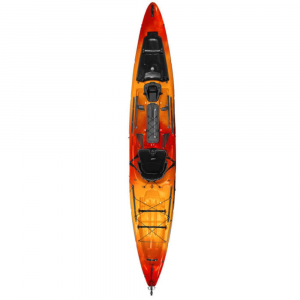wilderness systems thresher 140 kayak with rudder- Save 20% Off - Designed for both serious and aspiring off-shore fishermen, the Wilderness Systems Thresher Kayak 140 with Rudder offers stable and predictable performance in changing water conditions. Ready to land a trophy fish (not a story about the one that got away), it's a quick and efficient paddler equipped for maximum gear storage and accessibility. Phase 3 AirPro sit-on-top seat provides back stability, ventilation, and drainage without limiting stroke. Keepers XL foot brace system allows for quick and easy adjustment for leg length. Flared-bow and rockered-hull design helps lift the boat through surf and increases maneuverability. Flared sidewalls increase the boats stability in rough waters. Self-bailing scupper holes mean you dont have to worry about taking on water. Enclosed bow storage area with integrated Paddle Park. SlideTrax accessory system lets you add accessories such as rod holders or sideboards. Large rectangular center hatch provides access to hull. FlexPod oversize removable console for electronics mounting and removable storage. Tank well with adjustable bungee and two gear-security straps. Two-piece rigid injection-molded carry handles. Reflective static perimeter safety line. Course Control Rudder for easy maneuvering and steering.