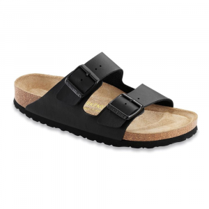 birkenstock women's arizona soft sandals, narrow, black- Save 18% Off - Featuring the Birkenstock soft footbed, the Arizona Soft provides long-lasting cushioning for very sensitive feet, while supporting and maintaining the natural functions of the foot. . Narrow width. Birko-Flor upper material: skin-friendly, strong, easy-care material with a soft fleece underside. Soft footbed features an additional layer of foamed natural rubber between the cork/latex base for long-lasting cushioning and walking/standing ease. Resilient natural cork/latex base provides maximum support and conforms to the shape of your foot. Soft suede leather liner absorbs moisture to keep your feet comfortable and dry. Two layers of jute fibers: one wicks away moisture and increases footbed flexibility, the other adds strength and stabilizes the footbed. Shock-absorbing EVA sole is flexible, durable, abrasion resistant, and lightweight. Contoured footbed supports the arch, ensuring even weight distribution and improved posture. Deep heel cup cradles the heel and keeps natural cushioning under the heel bone. Toe room allows toes to move naturally, promoting better balance and foot alignment. Raised toe bar encourages gripping motion of your feet, exercises the legs, and stimulates circulation. Durable powder-coated buckles for corrosion resistance.