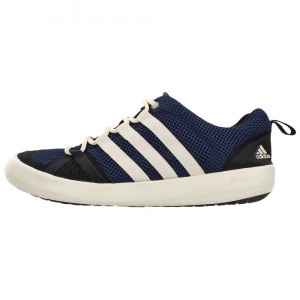 adidas men's climacool boat lace, navy- Save 42% Off - Trendy wear for water sports, the Adidas Climacool Boat Shoes feature nonmarking Traxion outsoles for serious grip on slick surfaces, water drainage, and quick-drying, breathable Climacool mesh uppers.. This item ships directly from Adidas and will leave their warehouse in 2-3 days. Eligible for UPS ground shipping only.  Climacool design provides 360-degree cooling for the entire foot-fully ventilated mesh upper and breathable footbed ensure maximum airflow.  Nonmarking Traxion outsole for exceptional grip in wet and slippery conditions.  Mesh-covered drainage holes in outsole allow maximum water drainage, keep debris out, and enhance breathability.  Fast-drying Climacool open-mesh upper for enhanced breathability.  EVA injection-molded midsole for cushioned comfort.  EVA tongue top for enhanced fit and comfort.  Stretchable heel insert for optimal fit and comfort.  Lace-up style.