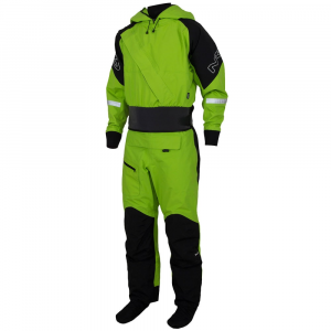 nrs navigator paddling suit - size s- Save 30% Off - Meeting the needs of paddlers heading out for long days and extended tours, the NRS Navigator Paddling Suit features an easy wearing neoprene neck seal in place of a latex gasket for increased touring comfort.. .  . . .  Features a neoprene volcano-style neck gasket in place of latex.  GlideSkin neoprene neck gasket keeps nearly all water out while offering a more comfortable feel than latex for long days and extended tours.  Latex wrist gaskets keep water out while paddling and rolling.  Stretchy overcuffs with hook-and-loop closures protect wrist gaskets.  Waterproof, breathable, four-layer Eclipse fabric  with DWR finish.  Supple polyester microfiber shell allows for frictionless paddling and is highly resistant to puncture and abrasion.  Heavy-duty, flexible TIZIP MasterSeal entry and relief zippers provide a dependable dry seal.  Waterproof, breathable, integrated Eclipse drysocks slide easily into wetshoes.  Wide seam taping throughout suit for increased durability.  Self-draining hood features three drawcord adjustments for dialing in fit.  Thigh pocket with splashproof zipper conviently keeps essentials close.  Single seam legs reduce wear points and enhance mobility.  An extra layer of Eclipse fabric reinforces the seat and legs for increased protection in high-wear areas.  Reflective hits for increased low light visibility .