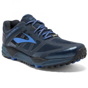 Image of Brooks Mens Cascadia 11 Gtx Trail Running Shoes, Dress Blues/electric Blue/black